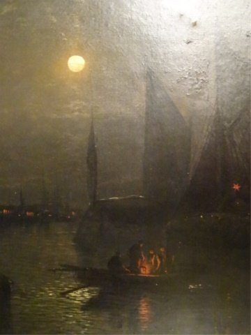 ANTIQUE OIL ON CANVAS PAINTING, NAUTICAL SCENE AT NIGHT - 4