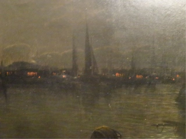 ANTIQUE OIL ON CANVAS PAINTING, NAUTICAL SCENE AT NIGHT - 5