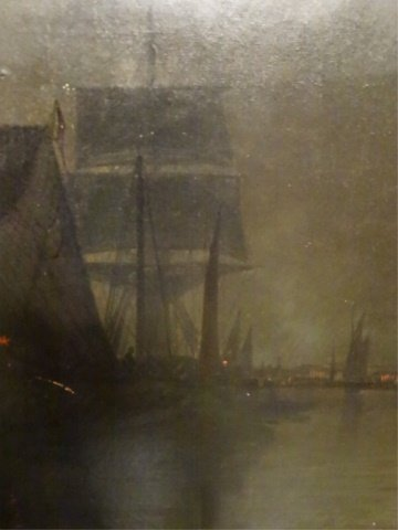 ANTIQUE OIL ON CANVAS PAINTING, NAUTICAL SCENE AT NIGHT - 6
