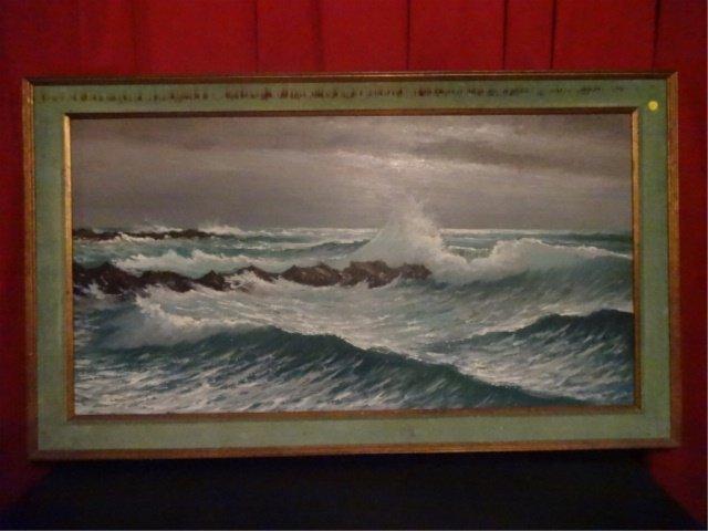 LARGE HAROLD NEWTON HIGHWAYMEN OIL PAINTING, OCEAN SURF