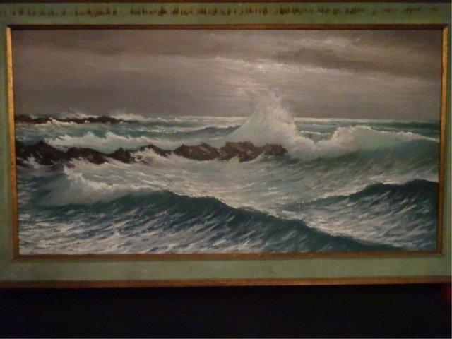 LARGE HAROLD NEWTON HIGHWAYMEN OIL PAINTING, OCEAN SURF - 2
