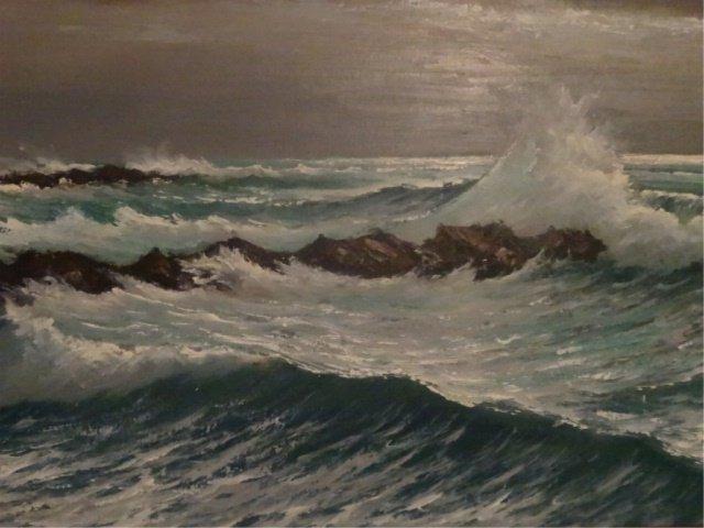 LARGE HAROLD NEWTON HIGHWAYMEN OIL PAINTING, OCEAN SURF - 3