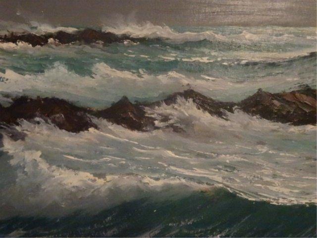 LARGE HAROLD NEWTON HIGHWAYMEN OIL PAINTING, OCEAN SURF - 4
