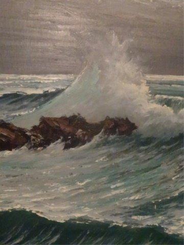 LARGE HAROLD NEWTON HIGHWAYMEN OIL PAINTING, OCEAN SURF - 5