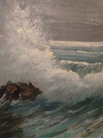 LARGE HAROLD NEWTON HIGHWAYMEN OIL PAINTING, OCEAN SURF - 6
