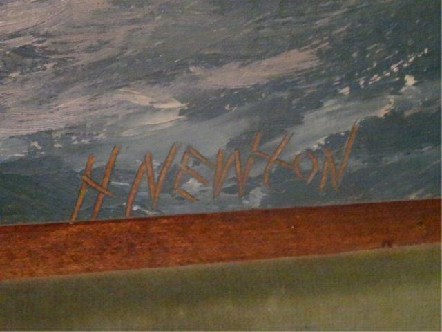 LARGE HAROLD NEWTON HIGHWAYMEN OIL PAINTING, OCEAN SURF - 7