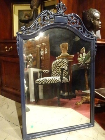 """MID CENTURY WOOD MIRROR, NEW BLUE LACQUER FINISH, 39""""H"""