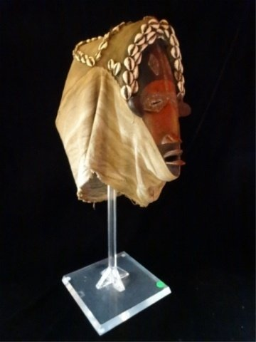 ANTIQUE AFRICAN HELMET MASK, WOOD AND CLOTH WITH COWRIE - 2