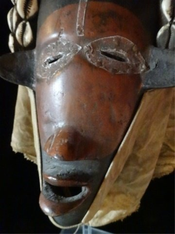 ANTIQUE AFRICAN HELMET MASK, WOOD AND CLOTH WITH COWRIE - 4