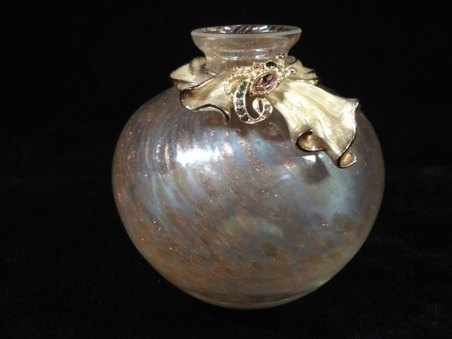 """JAY STRONGWATER SCARF BUD VASE, APPROX 4""""H, WITH - 10"""