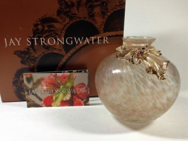 """JAY STRONGWATER SCARF BUD VASE, APPROX 4""""H, WITH"""