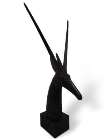 "CARVED WOOD ANTELOPE SCULPTURE, SQUARE BASE, 28""H X 9""D"