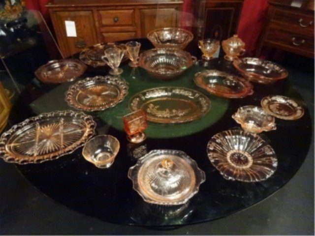 18 PC PINK DEPRESSION GLASS, INCLUDES ANCHOR HOCKING