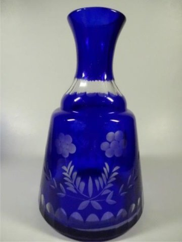 PAIR COBALT CUT TO CLEAR CRYSTAL CARAFES & GLASSES, - 3