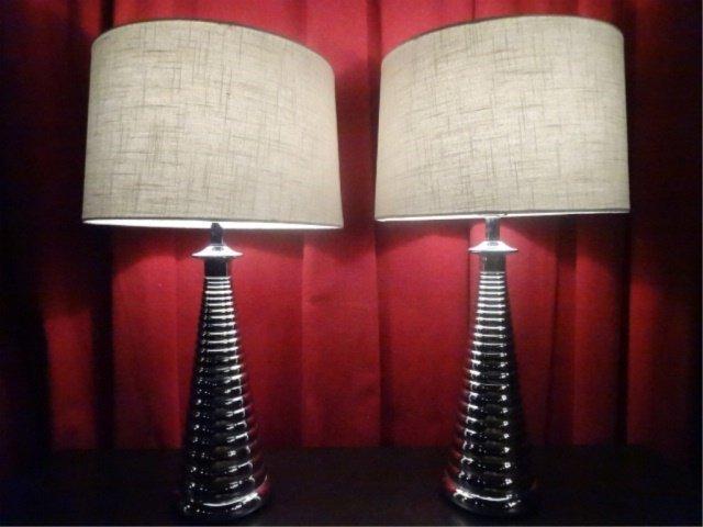 PAIR MODERN DESIGN CHROME LAMPS, RIBBED BASES, DRUM