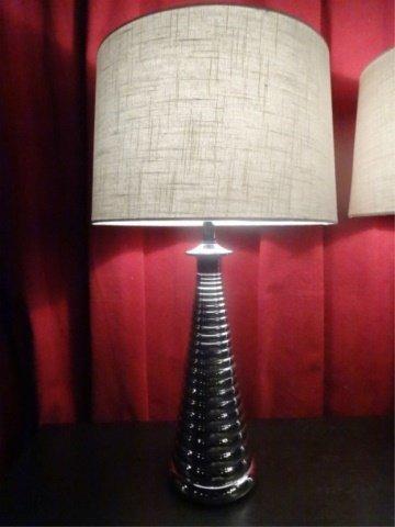PAIR MODERN DESIGN CHROME LAMPS, RIBBED BASES, DRUM - 3