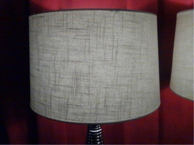 PAIR MODERN DESIGN CHROME LAMPS, RIBBED BASES, DRUM - 7