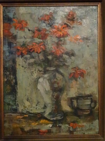 OIL ON CANVAS PAINTING, STILL LIFE WITH RED FLOWERS,