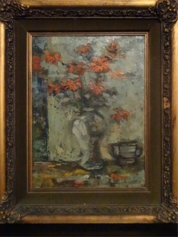 OIL ON CANVAS PAINTING, STILL LIFE WITH RED FLOWERS, - 2