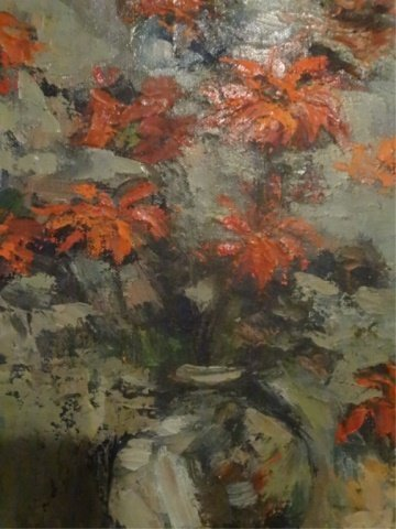 OIL ON CANVAS PAINTING, STILL LIFE WITH RED FLOWERS, - 3