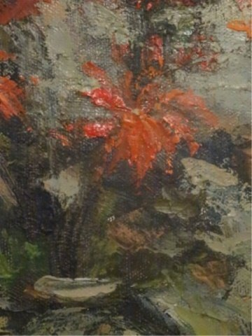 OIL ON CANVAS PAINTING, STILL LIFE WITH RED FLOWERS, - 6