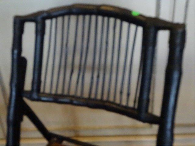 PAIR FOLDING BAMBOO CHAIRS, NATURAL FINISH SEATS, BLACK - 5