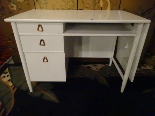 MID CENTURY MODERN DESK BY HERITAGE HENREDON, NEW WHITE