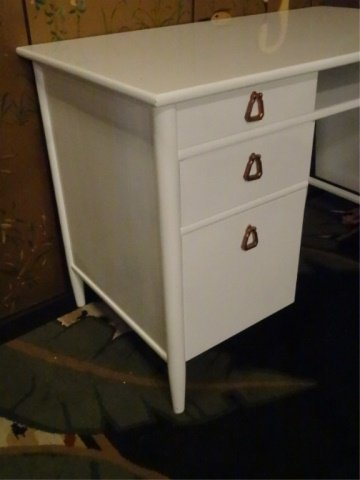 MID CENTURY MODERN DESK BY HERITAGE HENREDON, NEW WHITE - 2