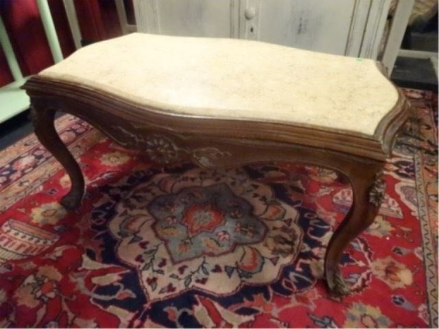 LOUIS XV STYLE MARBLE TOP COFFEE TABLE, VERY GOOD