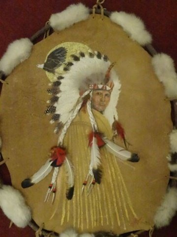 NATIVE AMERICAN PAINTING ON NATURAL HIDE, CHIEF WITH - 2