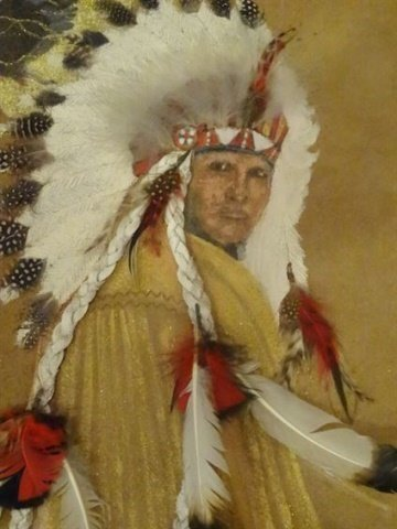 NATIVE AMERICAN PAINTING ON NATURAL HIDE, CHIEF WITH - 3