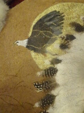 NATIVE AMERICAN PAINTING ON NATURAL HIDE, CHIEF WITH - 4