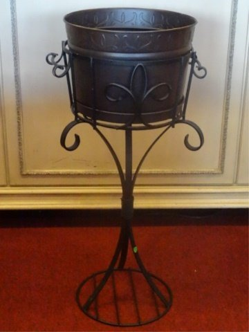 METAL JARDINERE ON STAND, VERY GOOD CONDITION, APPROX