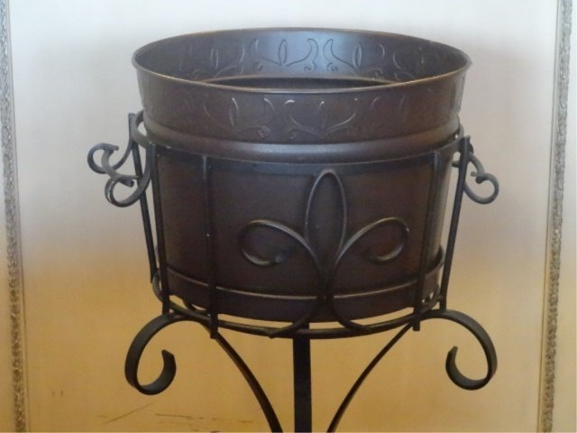 METAL JARDINERE ON STAND, VERY GOOD CONDITION, APPROX - 2