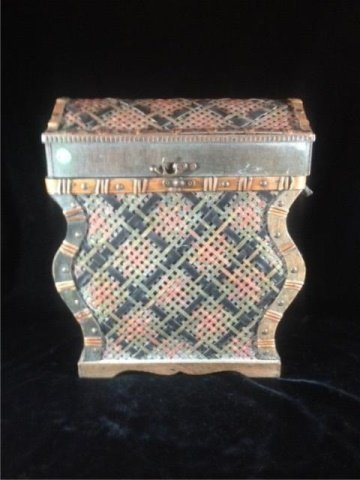 "WICKER BOX, APPROX 17"" X 14"" X 9"""