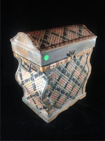 "WICKER BOX, APPROX 17"" X 14"" X 9"" - 2"