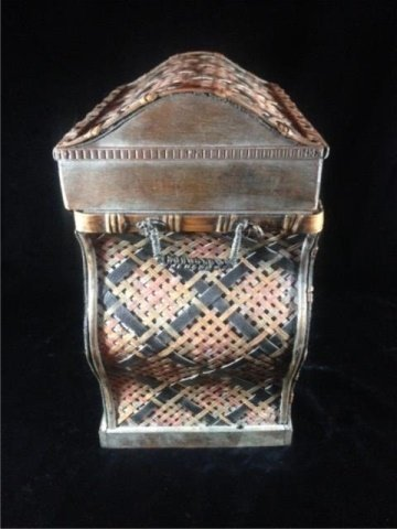 "WICKER BOX, APPROX 17"" X 14"" X 9"" - 3"