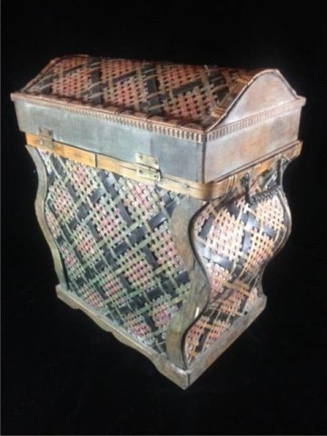 "WICKER BOX, APPROX 17"" X 14"" X 9"" - 4"