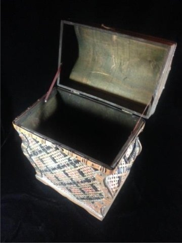 "WICKER BOX, APPROX 17"" X 14"" X 9"" - 6"