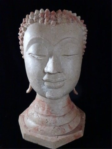 BUDDHA HEAD SCULPTURE / VASE, #1 OF TWO AVAILABLE,