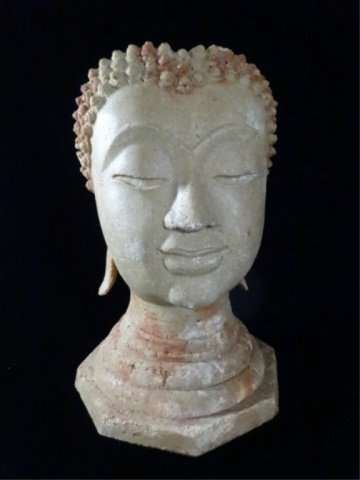 BUDDHA HEAD SCULPTURE / VASE, #2 OF TWO AVAILABLE,