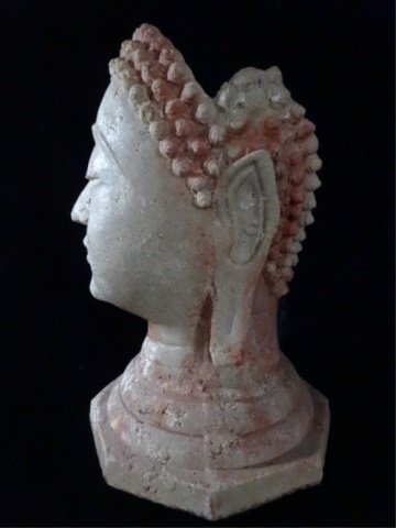 BUDDHA HEAD SCULPTURE / VASE, #2 OF TWO AVAILABLE, - 4