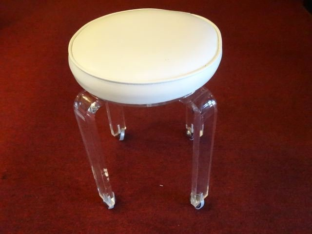 MID CENTURY LUCITE STOOL, ROUND WHITE VINYL TOP, ON