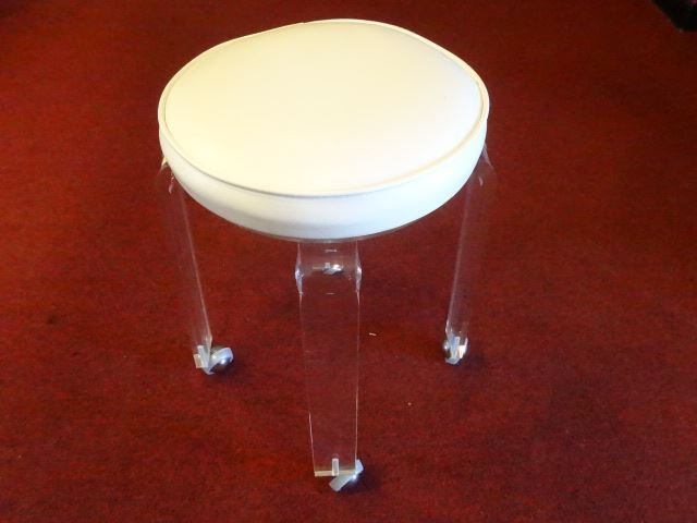 MID CENTURY LUCITE STOOL, ROUND WHITE VINYL TOP, ON - 2