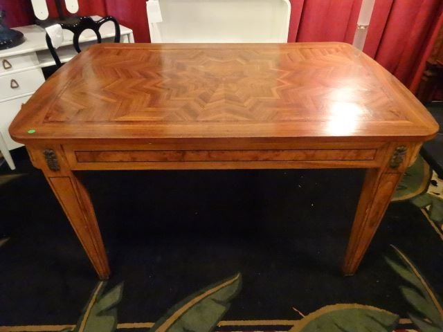 ANTIQUE INLAID TABLE WITH STARBURST DESIGN INLAID TOP,