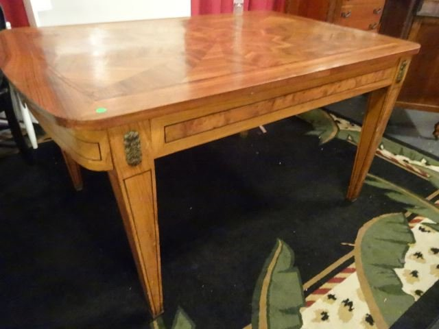 ANTIQUE INLAID TABLE WITH STARBURST DESIGN INLAID TOP, - 2