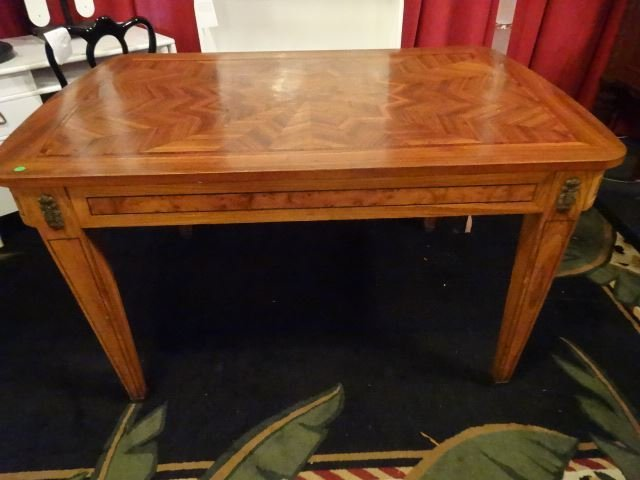 ANTIQUE INLAID TABLE WITH STARBURST DESIGN INLAID TOP, - 3