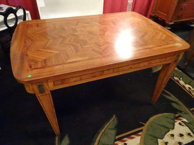 ANTIQUE INLAID TABLE WITH STARBURST DESIGN INLAID TOP, - 4
