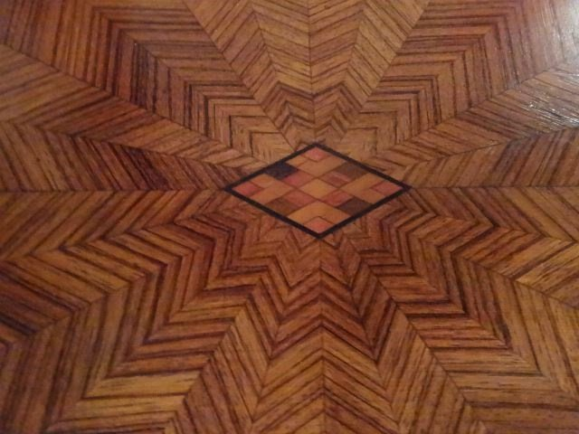 ANTIQUE INLAID TABLE WITH STARBURST DESIGN INLAID TOP, - 6