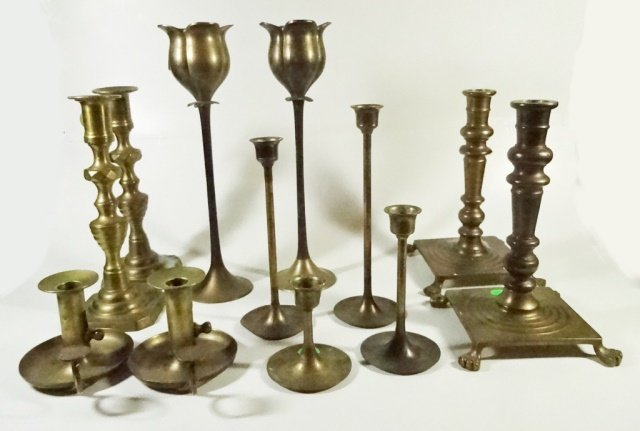 12 PC COLLECTION BRASS CANDLESTICKS, INCLUDES 4 PAIRS &